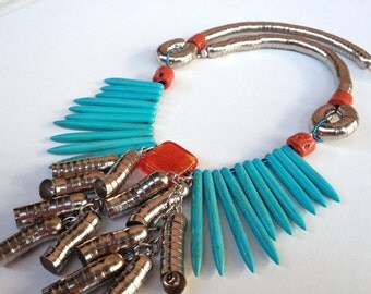 Turquoise necklace, Spike Turquoise, Coral Necklace, Statement necklace, Ethnic jewelry, bijoux handmade
