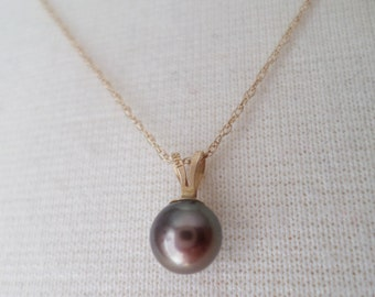 14K Yellow Gold Chocolate Mocha Natural Round Pearl Pendant Necklace.