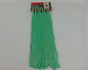 1980's 18 Feet of Green Beaded Garland-New old-Decorum-Collectible-Usable-Vintage