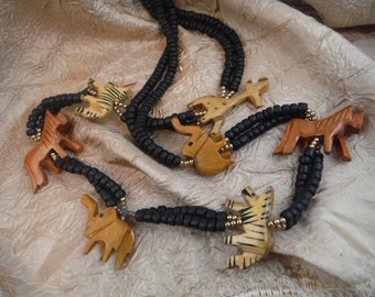African Hand Carved Necklace - Vintage, Retro, Decorum