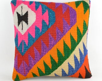 Kilim pillow K20 16x16inc, kilim pillow cover, home decor, decorative throw pillow