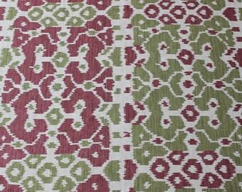 SCALAMANDRE BALI AZTEC Ikat Linen Fabric 5 Yards Roses Moss