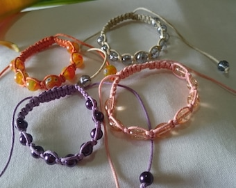 Mixed Friendship Bracelet - Purple/Pink/Cream/Orange