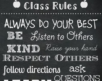 Teacher Gift - Classroom Rules -Digital file ONLY