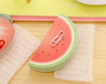 3D Watermelon Memo / Cute Kawaii Fruit Memo Pad with Paper Clip / Watermelon-Shaped Bookmarker / Stationery / Stationary / School Supplies