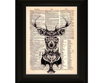 "Dear"".Dictionary Art Print. Vintage Upcycled Antique Book Page. Fits 8""x10"" frame"