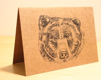 Bear card - nature card, ink drawing,  recycled