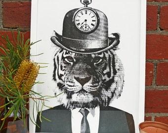 Hand screen printed 'Tick Tick Tiger' (A3) art print