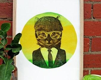 Hand screen printed 'Le Citron Cat' (A3) art print