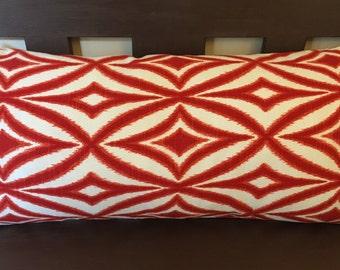 "Orange and White Geometric Print Decorative Pillow Cover Throw Pillow Rectangle 13 x 24"""