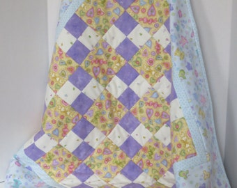 Buttons & Bows Flannel Baby Girl Quilt, Blue Pink Yellow Purple White, Nursery Quilt, Crib Quilt, Baby Shower Gift