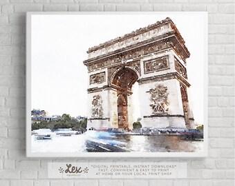France, Paris, Arc de Triomphe de l'Étoile - Aquarelle Watercolor Painting Digital Wall Art Instant Download