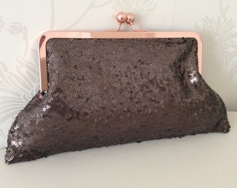 Sequin Evening Bag, purse, clutch bag, in chocolate brown sequin fabric no 4