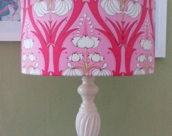 30cm handmade lampshade made with amy butler soul blossoms in cerise pink