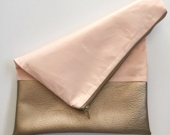 Rose Gold Quartz Fold-over Clutch