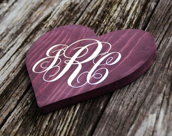 "Monogram Heart 9"" Personalized Kids Room Sign, Baby's Room, Nursery. Girls Birthday Gift. Hand Painted - Custom Made Options Available!!"