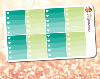March / St. Patrick's Day Green & Aqua Ombre Heart Checklist Planner Stickers (Erin Condren Life Planner Monthly Colors)