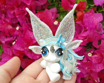 Fantasy Snow Fairy Pony Polymer Clay Figure//cake topper//keepsake//gifts for her//fairy//unicorn//Free US shipping code FREESHIPUS