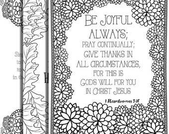 3 Bible Verse Coloring Pages Thanksgiving Set Inspirational Quotes DIY Adult Printable Sheets JPG