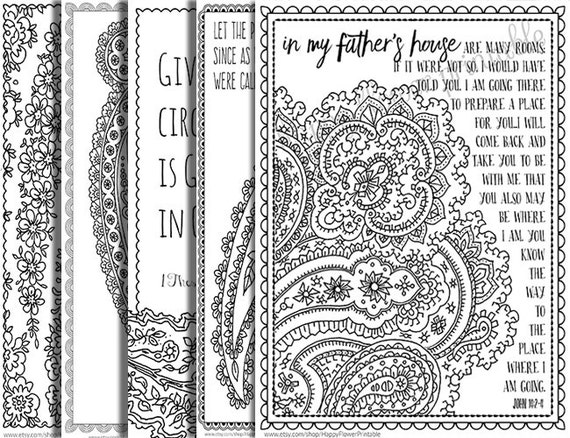 5 Bible Verse Coloring Pages Paisley Inspirational Quotes DIY Adult Printable Sheets JPG Instant Download Flower