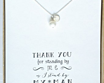 Set of 5 Pearl Necklace Silver Initial, Single Pearl Personalized Necklace, Bridesmaid Gift Necklace, Bridesmaid Proposal Necklace, HP5