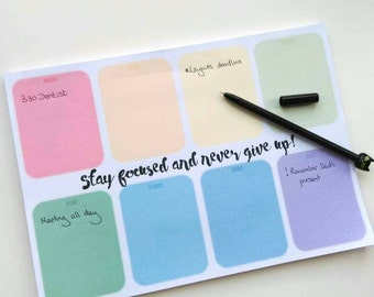 Weekly Desk Planner, motivational rainbow notepad, tear off sheets