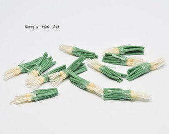 6 Bunches of 1:12Dollhouse Miniature Green Onion/ Miniature Vegetables/ Dollhouse Miniature Green Onion P035