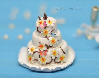 1:12 Dollhouse Miniature 3 Tier Butterfly Flower Cake/ Dollhouse Miniature wedding Cake/ Miniature food k1114