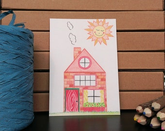 Card House - A6 Postcard - Blank Card - New House - New Home - Just Because Card - Card Recycled Paper.