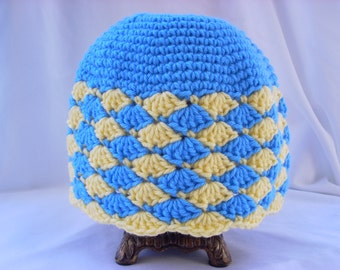 Adult Crochet Hat / Adult Winter Cap yellow and blue:  Hat #13