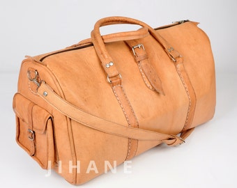 LARGE Leather Duffel Bag – Tan, Moroccan Leather Luggage Shoulder Bag Carry on Bag Canvas & Leather Weekend Bag
