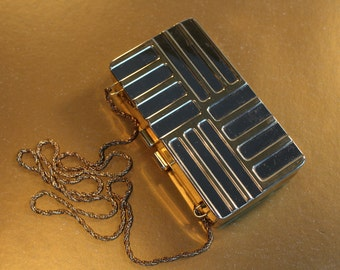 Silver Metal Purse with Gold lines