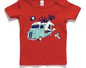 Baby t-shirt, moose giving cupcake to pelican from a citroen, red