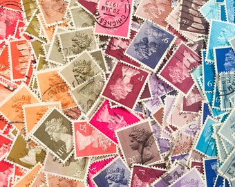 400 x used rainbow British machin postage stamps - off paper - for collage, stamp collecting, mail art, stamp art, scrapbooking, crafting