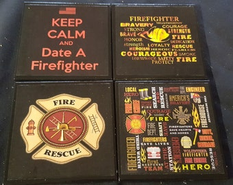 Firefighter Ceramic Tile Drink Coasters / Set of 4 / Fireman Coaster / Firefighter Coaster
