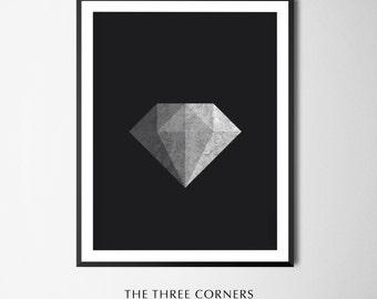 DIAMOND ART PRINTABLE Diamond Geometric Art Diamond Texture Art Diamond Minimalist Poster
