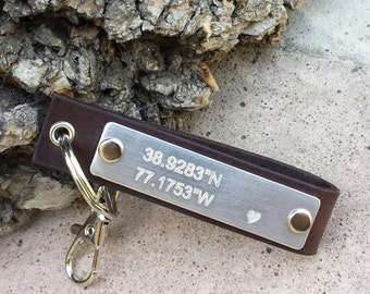 FREE SHIPPING-Coordinates Keychain,GPS Leather Keychain,Personalized Keychain,Engrave Leather Keychain,Custom Keychain,Groom Gift,Accesories