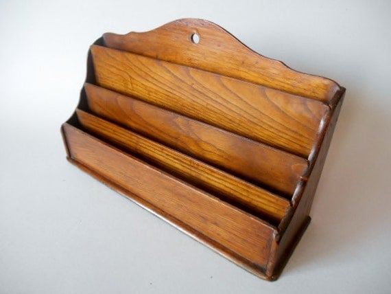 Oak Desk Organizer ~ Antique mail holder vintage desk organizer in oak
