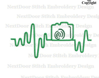 Heartbeat embroidery design, camera nurse machine embroidery instant download, nr-002