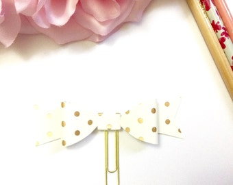 Planner Paper clips in Adorable Polka Dot Cream and Gold Planner Accessories,Planner Paperclips collection