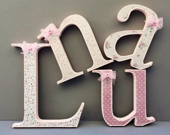 shabby chic pink wooden letters~nursery room letters~baby shower letters~ wall hanging nursery letters~free standing shabby chic letters~