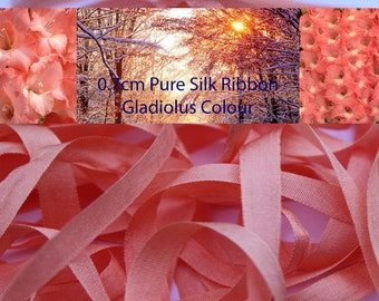 5 metres of 7mm Silk Ribbon in Gladiolus Colour