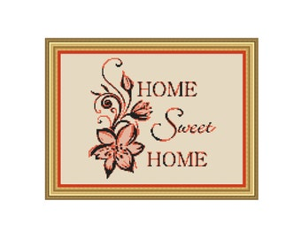 "Cross stitch pattern ""Home Sweet Home"",Instant download PDF"