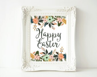 Easter Printable Wall Art, Happy Easter printable art, Easter decor, Easter art, He is Risen wall decor, Easter poster, gallery wall