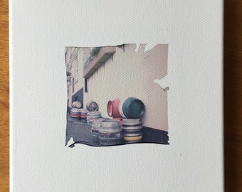 "Original, one off emulsion lift on canvas using instant/polaroid film entitled ""Beer Barrels"""