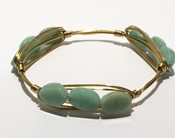 WIRED Jade and Gold Colored Bangle