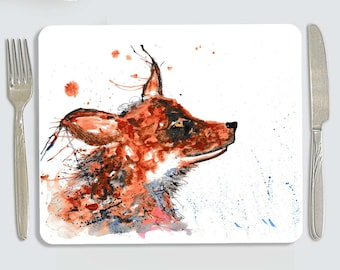Fox placemat, personalised fox placemat, fox love gift, dog kitchenware