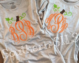 Pumpkin Monogram T-Shirts (Adult or Childrens Available!)