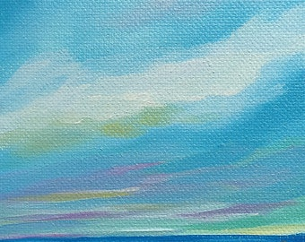 Ocean and Sky oil painting, 4x4 inch, original