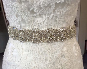 Victoria'  Crystal and pearl bridal sash